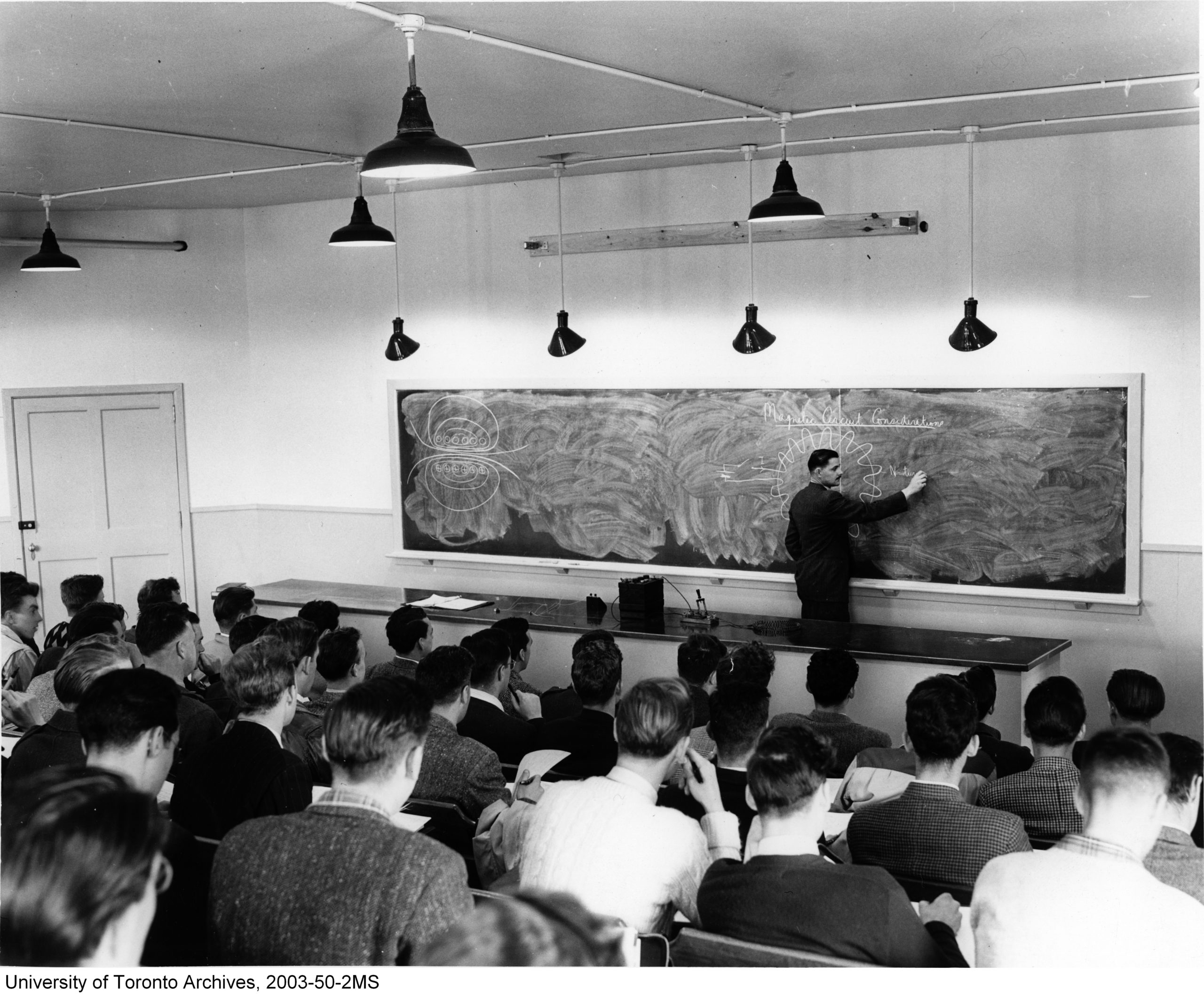 Students of the Faculty of Applied Science and Engineering listen to lecture by Ernie Wall while in class at the Ajax Campus