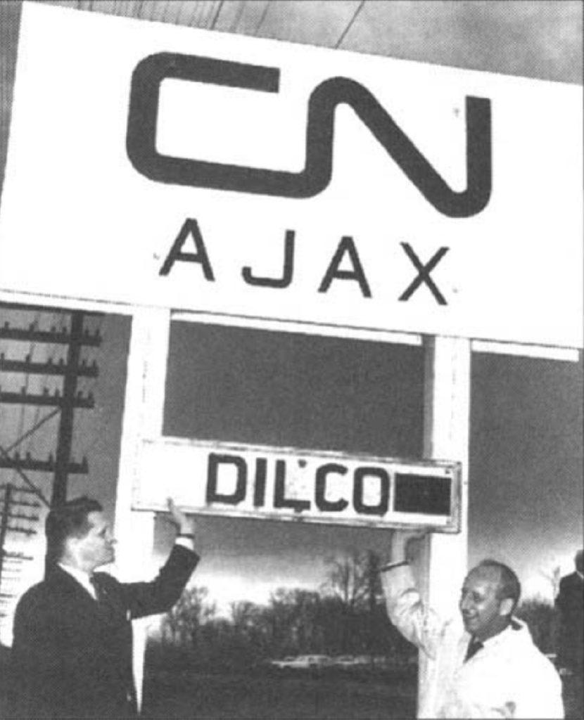 Ajax CN rail sign with Mayor William Parrish. October 1963