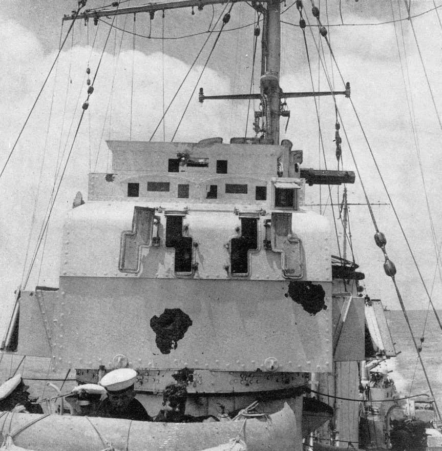 HMS Achilles - Damage to director tower by the Graf Spee's shells.